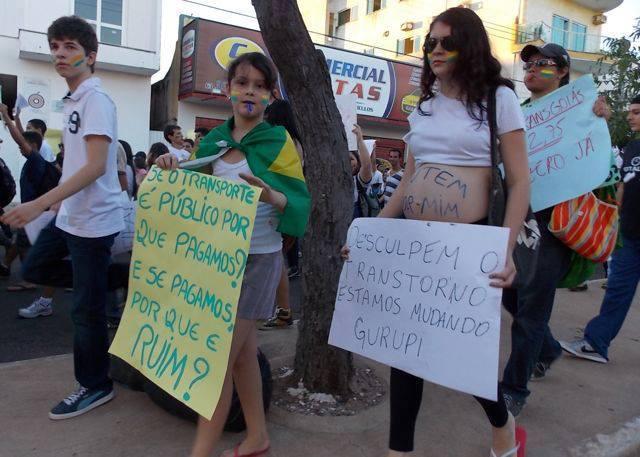 Manifestação em junho de 2013 em Gurupi.