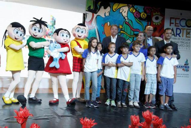 Com a presença da Turma da Mônica, criação de Maurício de Sousa, a 9ª edição do Salão do Livro foi lançada em Palmas (Foto: Elias Oliveira / Seduc)