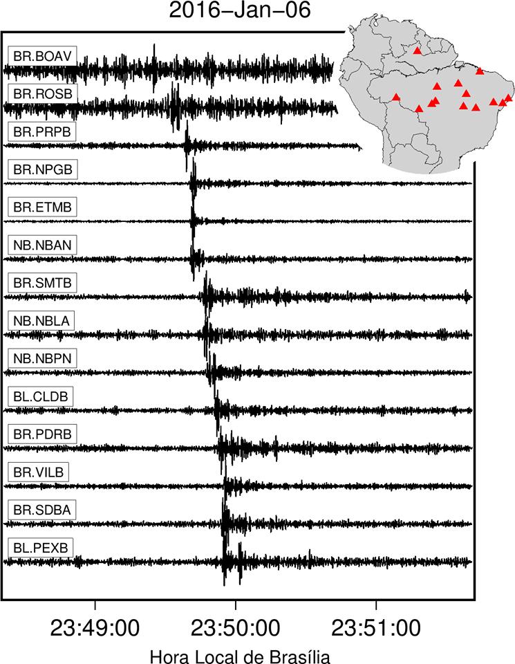 Na imagem abaixo, o Centro de Sismologia da USP mostra os registros das ondas nas diversas estações brasileiras