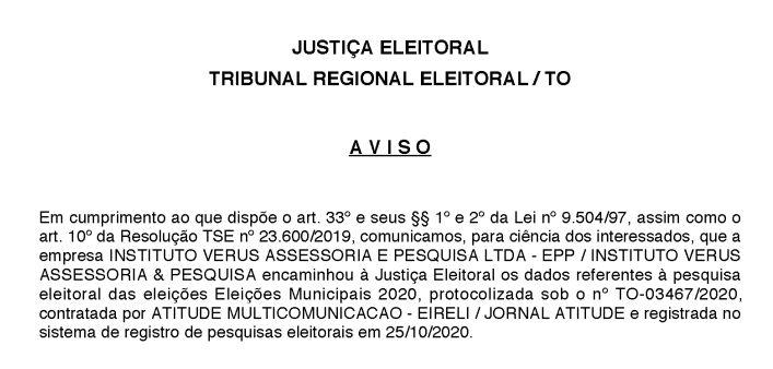Pesquisa-TSE Pesquisa eleitoral Verus/Portal Atitude mostra Josi Nunes na liderança em Gurupi
