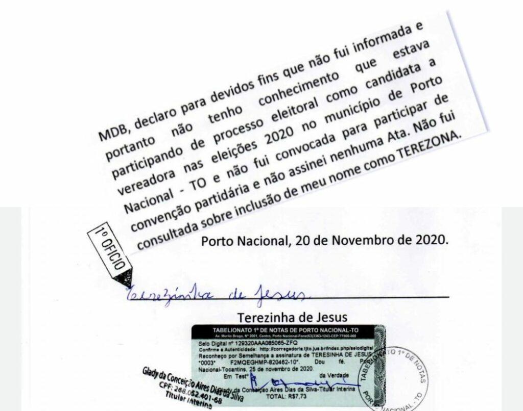 Terezona-declaracao-A-1024x806 MDB de Porto Nacional poderá ter chapa cassada e perder dois vereadores eleitos, casos confirme candidatura-laranja