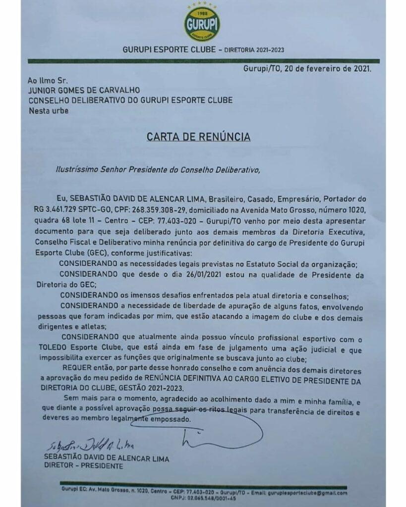 IMG_20210222_104007_828-819x1024 Gurupi Esporte Clube oficializa renuncia do presidente e técnico Davi Lima