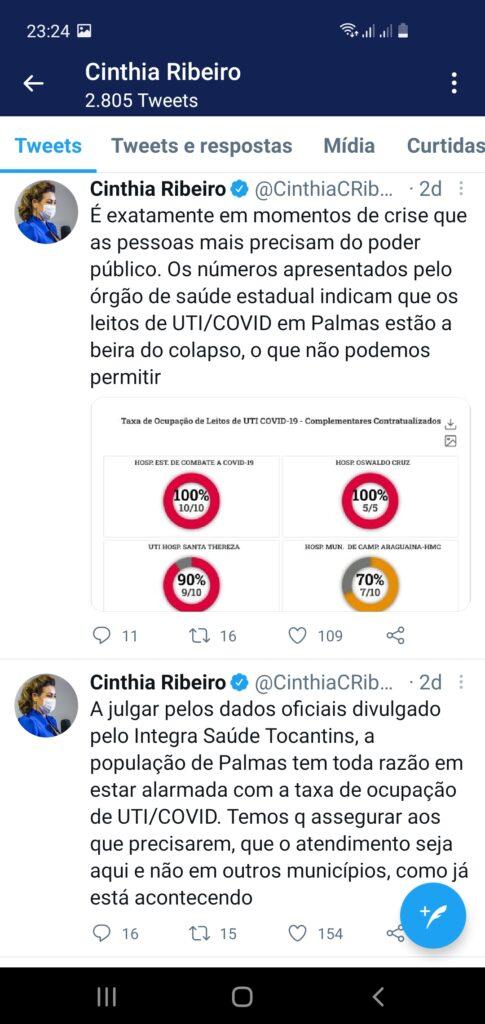 """Screenshot_20210221-232431_Twitter-485x1024 Deputado Ivory responde post da prefeita Cinthia por """"atribuir o avanço da Covid na Capital ao Parlamento Tocantinense"""""""