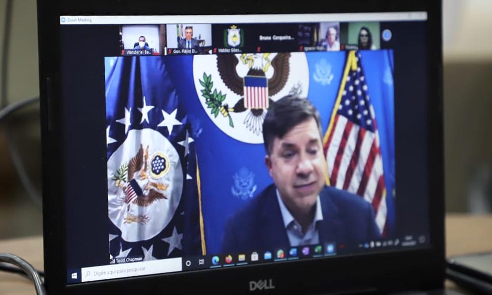 F2-Wanderlei-Barbosa-video-conferencia-consorcio-da-amazonia-legal-foto-Tharson-Lopes Plano de Recuperação Verde do Tocantins é  apresentado pelo vice-governador Wanderlei Barbosa a Embaixadores
