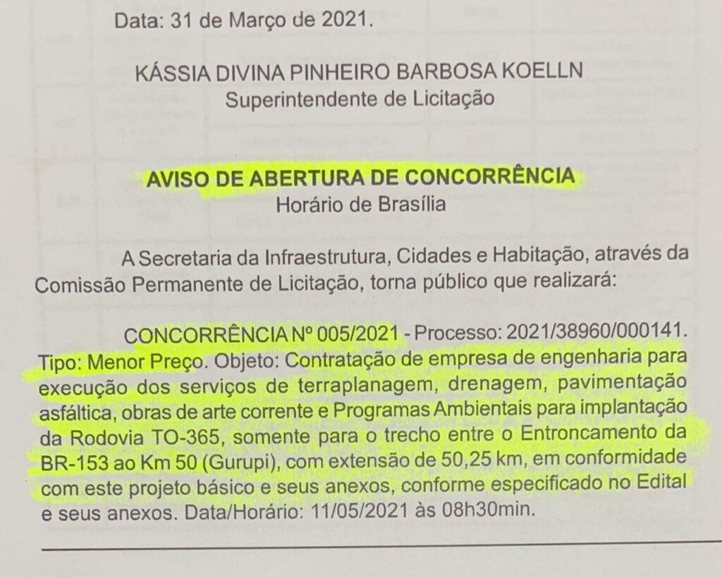 trevo-praia-licitacao-1024x818 Abertura de Concorrência: Empresa vencedora para pavimentação asfáltica entre Gurupi e Trevo da Praia deverá anunciada no próximo mês