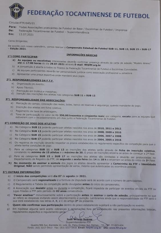 Federacao Federação Tocantinense de Futebol abre inscrições para torneios estaduais