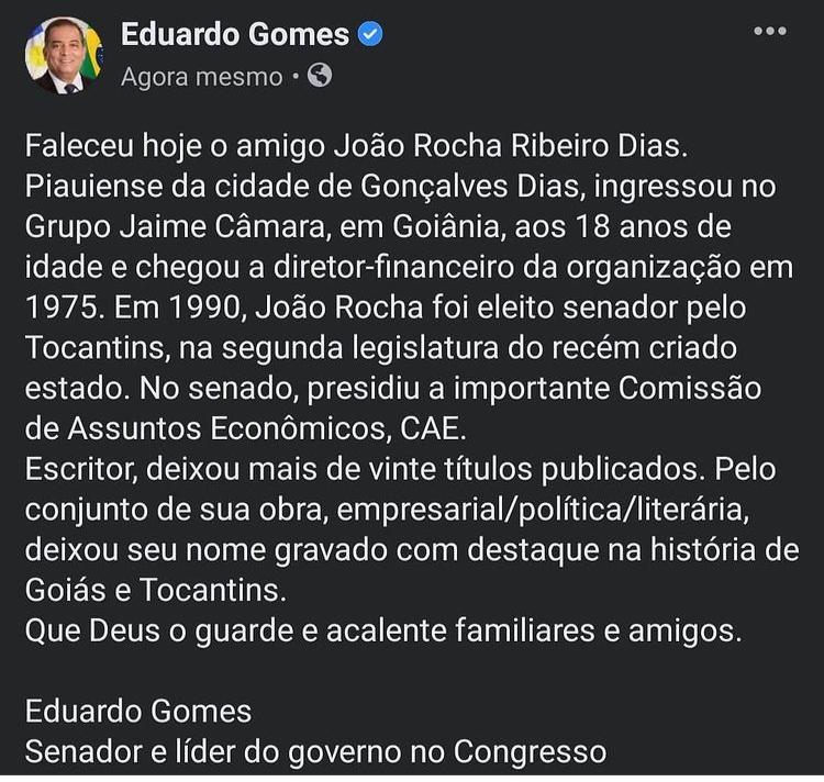 pesar-Eduardo-Gomes-pesar Ex-senador João Rocha morre vítima da Covid-19
